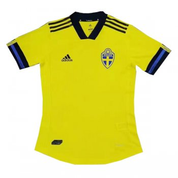 2020 Sweden Home Authentic Soccer Jersey Shirt (Player Version)
