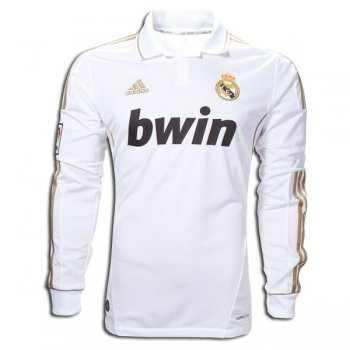 2011-2012 Real Madrid Home White Long Sleeve Retro Jersey
