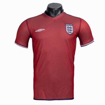2002 England Away Red Retro Jersey Shirt