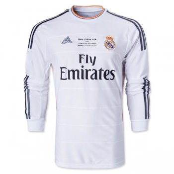 2013-2014 Real Madrid UCL Final Home Long Sleeve Retro Jersey